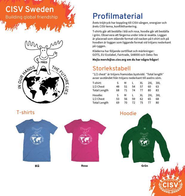 Årets nationella CISV-tröjor Fred på jorden!